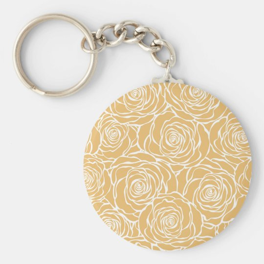 Peonies,floral,white,yellow,pattern,girly,modern Key Ring