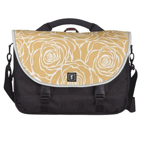 Peonies,floral,white,yellow,pattern,girly,modern Laptop Messenger Bag