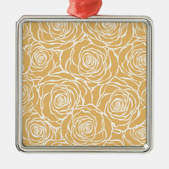 Peonies,floral,white,yellow,pattern,girly,modern Metal Ornament