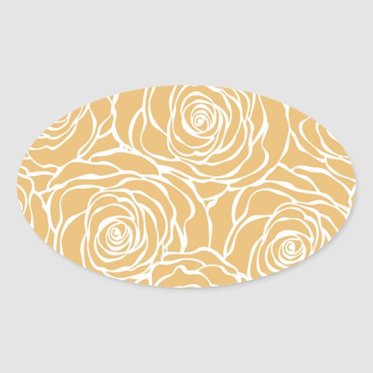 Peonies,floral,white,yellow,pattern,girly,modern Oval Sticker