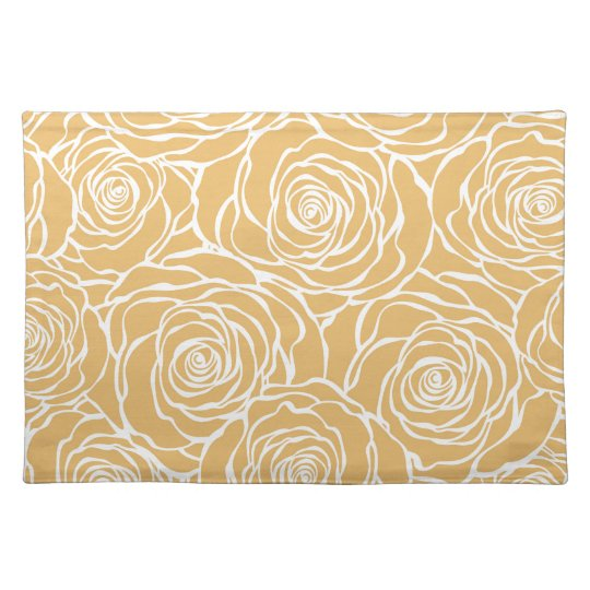 Peonies,floral,white,yellow,pattern,girly,modern Placemat