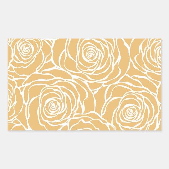 Peonies,floral,white,yellow,pattern,girly,modern Rectangular Sticker