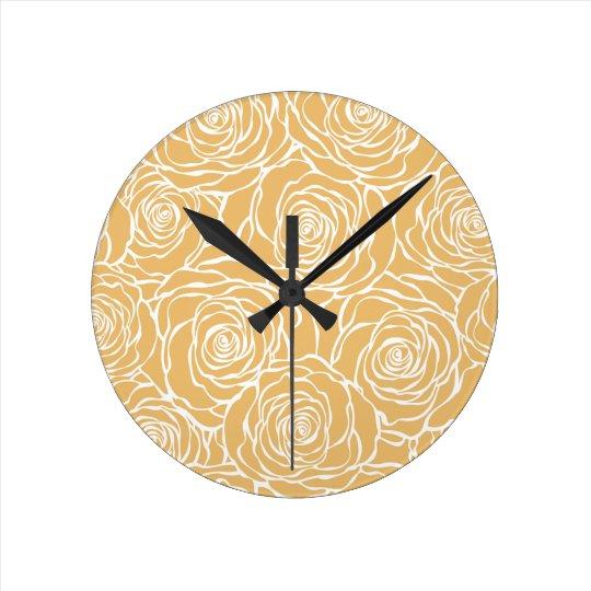 Peonies,floral,white,yellow,pattern,girly,modern Round Clock