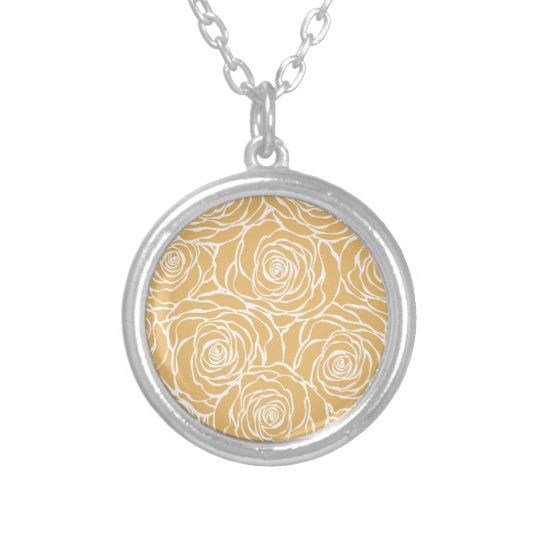 Peonies,floral,white,yellow,pattern,girly,modern Silver Plated Necklace