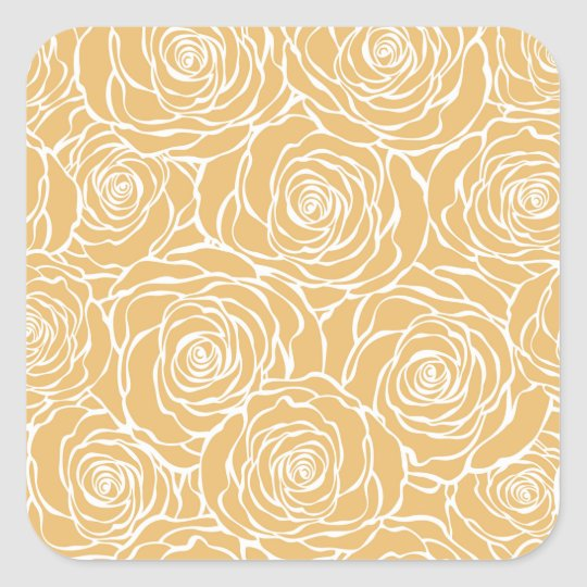 Peonies,floral,white,yellow,pattern,girly,modern Square Sticker