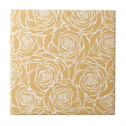 Peonies,floral,white,yellow,pattern,girly,modern Tile