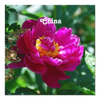 Peonies of China 13 Cm X 13 Cm Square Invitation Card
