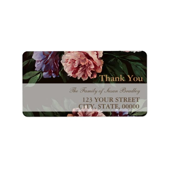 Peonies Painting 2 Family Thank You Address Label
