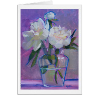 Peonies Three - white flowers in a glass vase Card