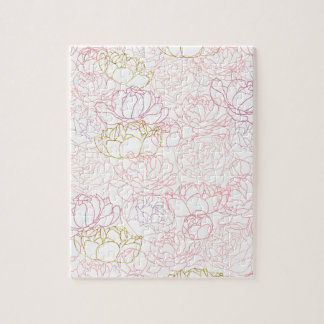 Peonies touch of gold jigsaw puzzle
