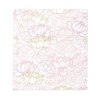 Peonies touch of gold notepad