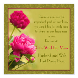 Peonies Wedding Renewal Card