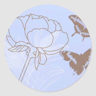 Peony and Butterflies Envelope Seals Round Sticker