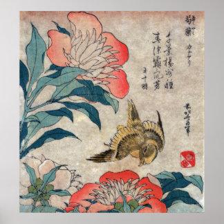 Peony and Canary, Hokusai Poster