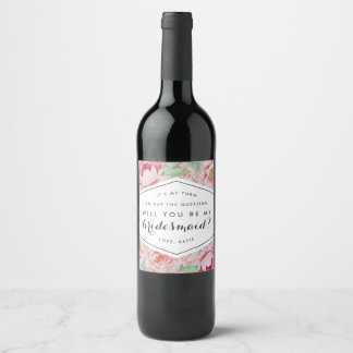 Peony Be My Bridesmaid Wine or Champagne Labels