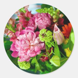 Peony Bouquet Classic Round Sticker