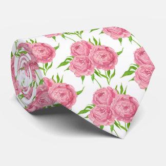 Peony bouquet watercolor pattern tie