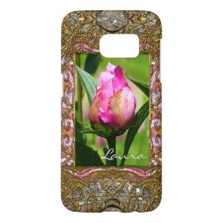Peony Bud Elegant Floral Monogram
