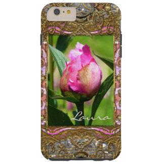 Peony Bud Monogram Girly Tough iPhone 6 Plus Case