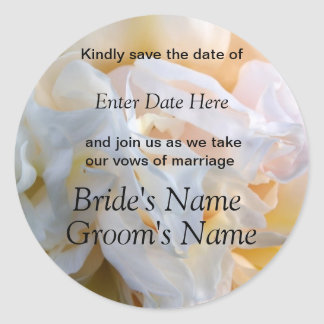 Peony & Cream Wedding or Shower Invite Round Sticker