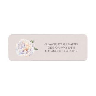 Peony Floral Bloom Mauve Return Address Label