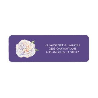 Peony Floral Bloom Violet Purple Return Address Label