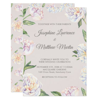 Peony Floral Mauve Wedding Invitations