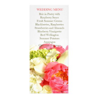 Peony Floral Sweet Bouquet Wedding Menu Invitation