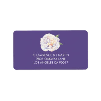 Peony Floral Watercolor Violet Purple Label