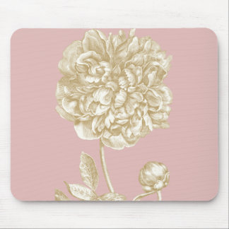 Peony Flower Botanical, Pink and Gold Mouse Pad