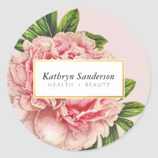 PEONY FLOWER eco floral stylish illustration pink Round Sticker