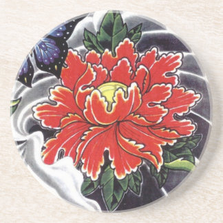 Peony Flower Japanese tattoo design Coaster