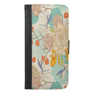 Peony Flower Pattern iPhone 6 Plus Wallet Case