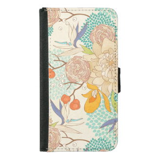 Peony Flower Pattern Samsung Galaxy S5 Wallet Case