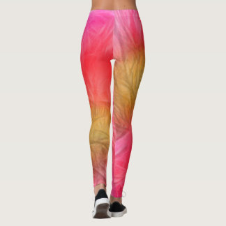 Peony Flower Sketch in Pink, Red and Yellow Leggings
