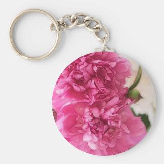 Peony Flowers Close-up Sketch Key Ring