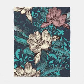 Peony flowers on blue. Victorian style Fleece Blanket
