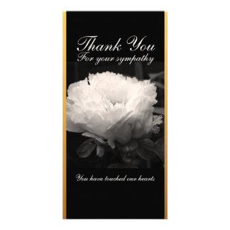 Peony Funeral Sympathy Thank You Card Custom Photo Card