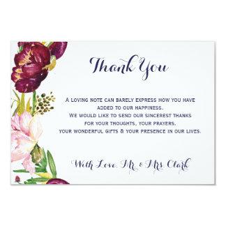 Peony Maroon/Navy Thank you Card