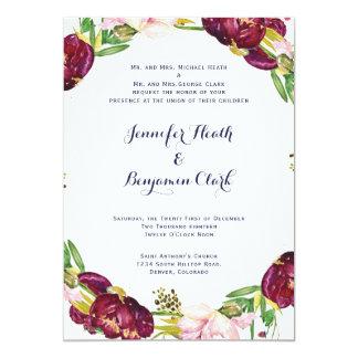 Peony Maroon/Navy Wedding Invitation