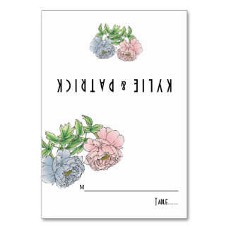 Peony pastel pink, blue floral wedding escort card table card