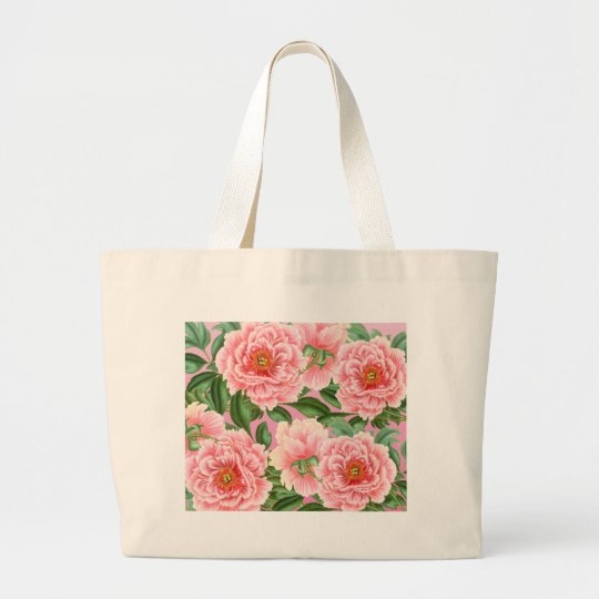 Peony Pink on Pink Large Tote Bag