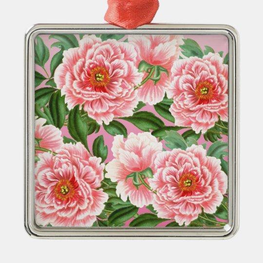 Peony Pink on Pink Metal Ornament