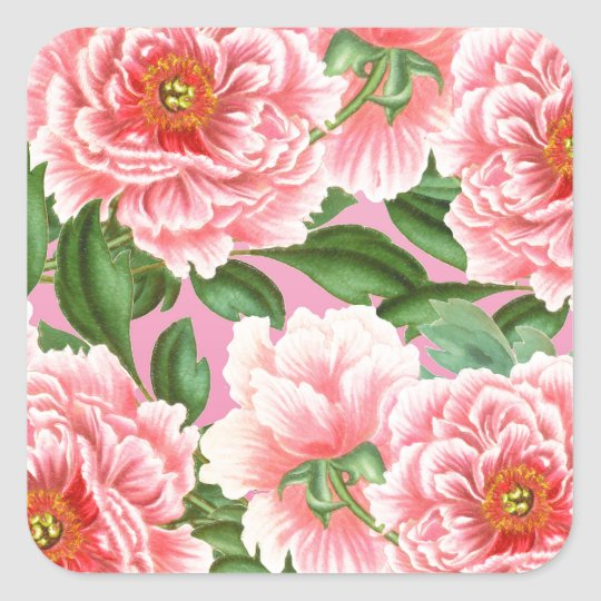 Peony Pink on Pink Square Sticker
