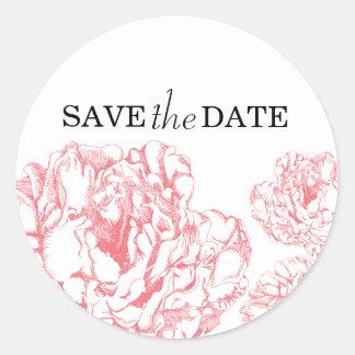 Peony Save the Date Sticker