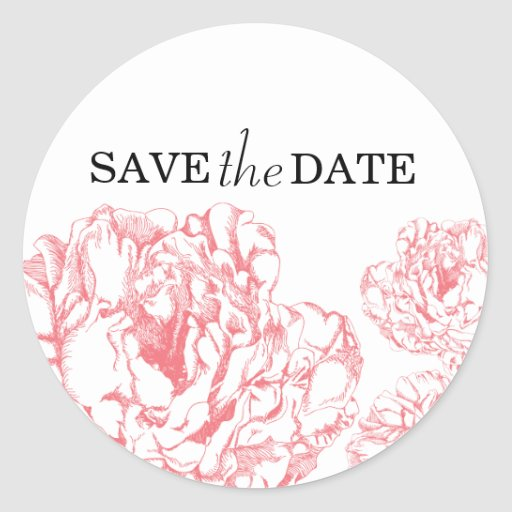 Peony Save the Date Sticker