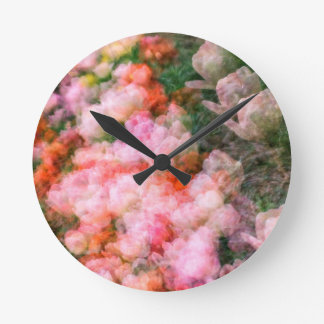 Peony Tulips in Full Bloom Round Clock