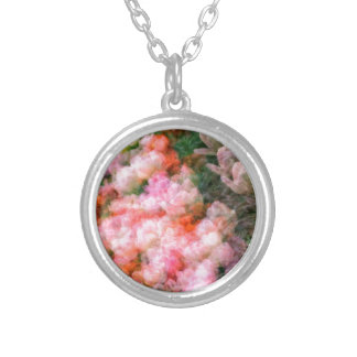 Peony Tulips in Full Bloom Silver Plated Necklace