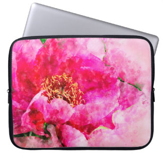 peony watercolor pink laptop sleeve