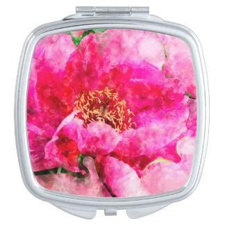 peony watercolor pink makeup mirror
